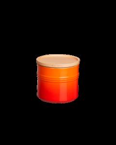 LE CREUSET - Aardewerk - Voorraadpot met houten deksel oranj