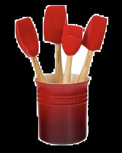 LE CREUSET - Siliconen - Lepelpot met 4 Premium spatels Kers