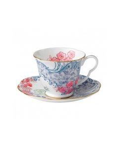 WEDGWOOD - Butterfly Bloom - Kop en Schotel Blauw& Pink