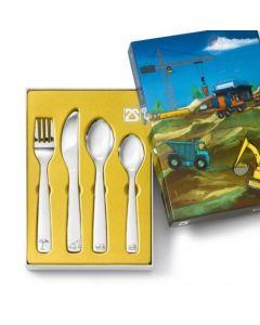 ZILVERSTAD - Kinderartikelen - Kinderbestek 4-dlg Bouwvoertuigen
